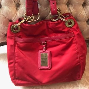 JPK Paris 75 red nylon hobo tote
